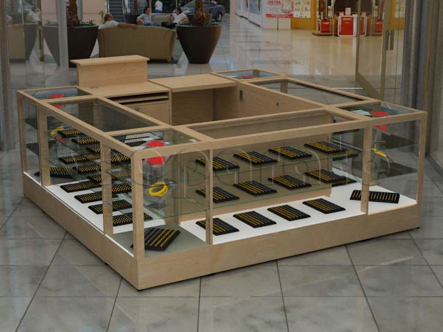 Retail counter showcases kiosks