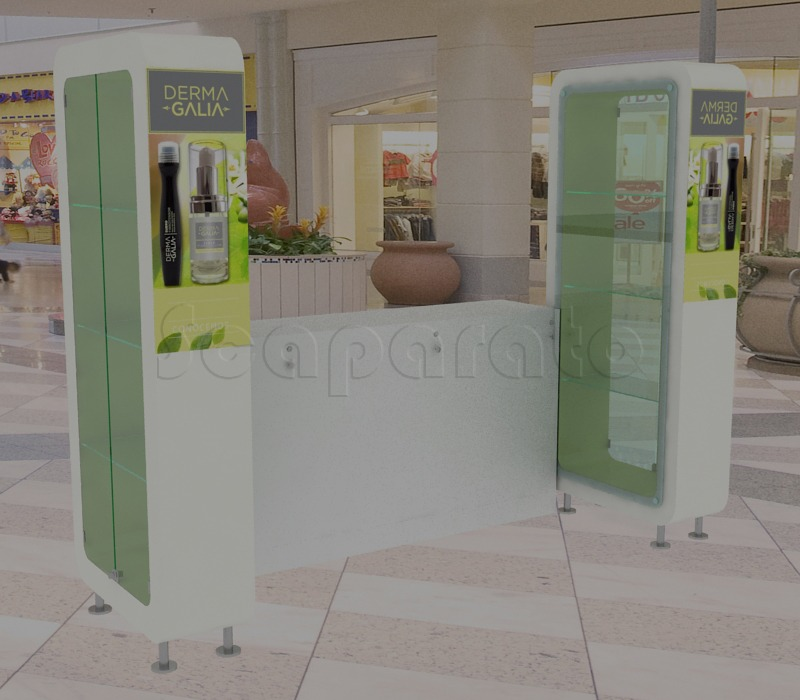 retail kiosk with showcases