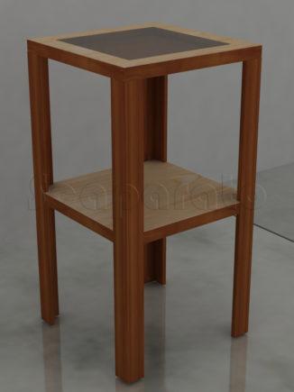 mesa esquinera de exhibición 2 niveles