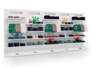 modular display wall with shelves