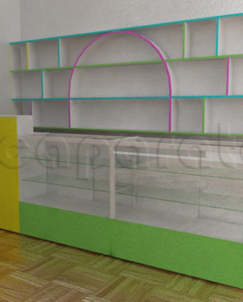 cash counter with showcases