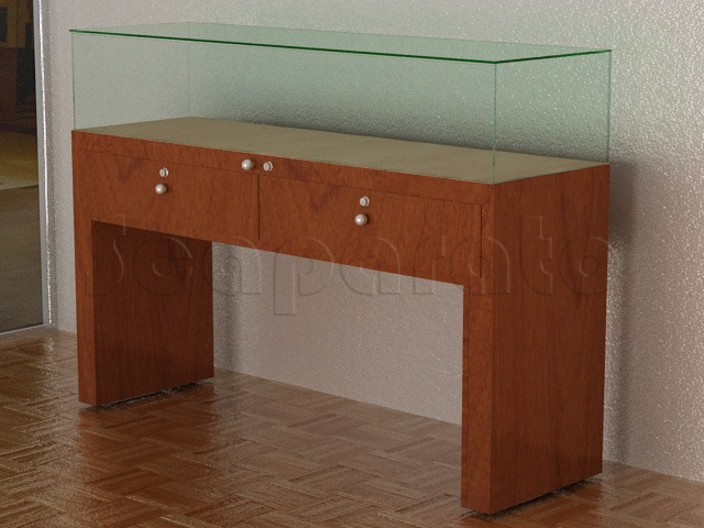 wooden counter display case