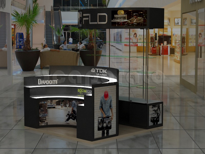 commercial showcases kiosk
