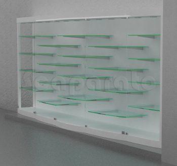 vitrina curva de cristal para pared