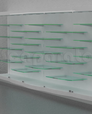 curved glass wall showcase