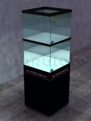 vitrina de torre dos niveles