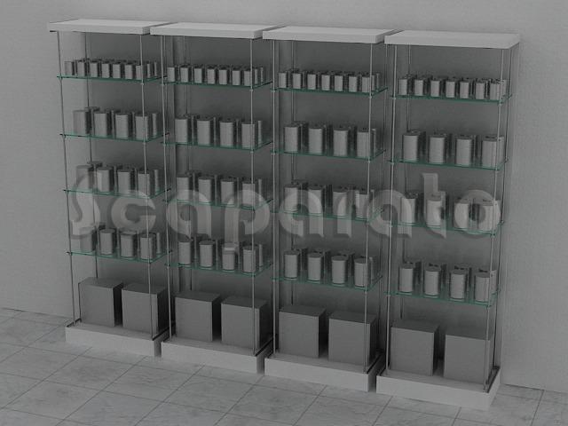 exhibidor modular con entrepaños