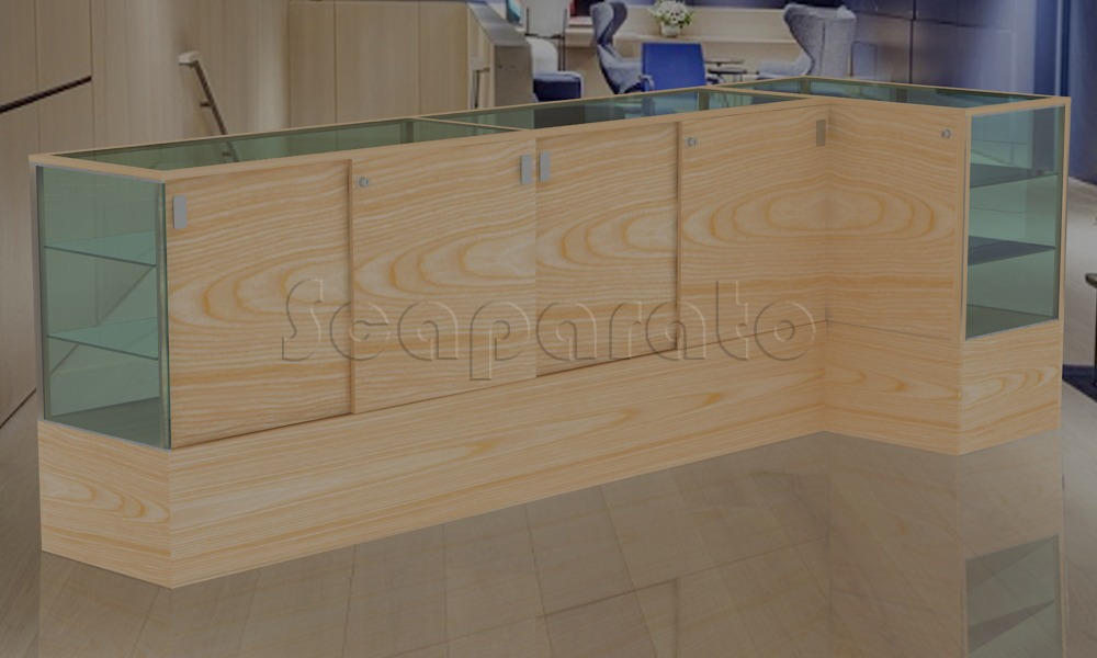 L Shaped counter display showcase